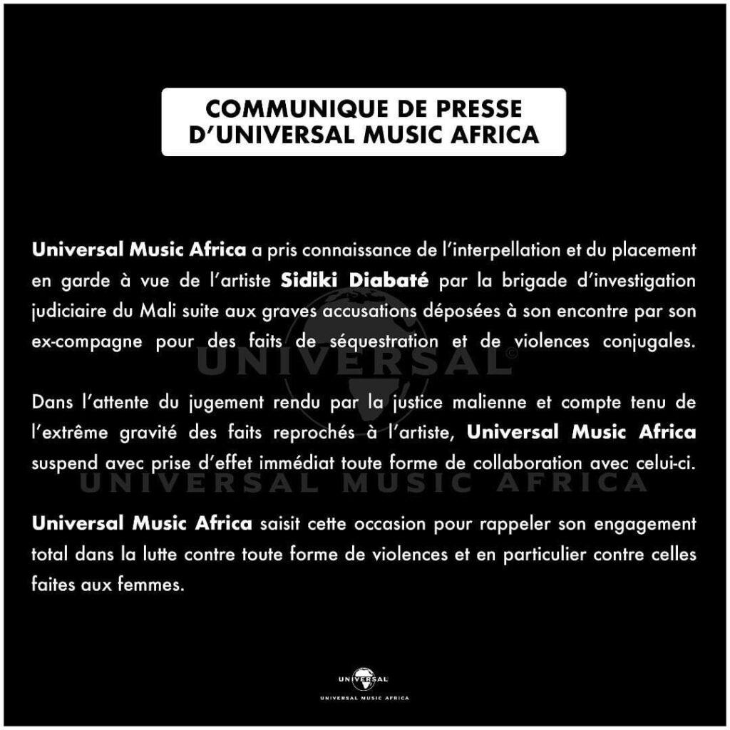Sidiki Diabaté: Universal Music Afrique, sa maison de production prend une décision à son tour