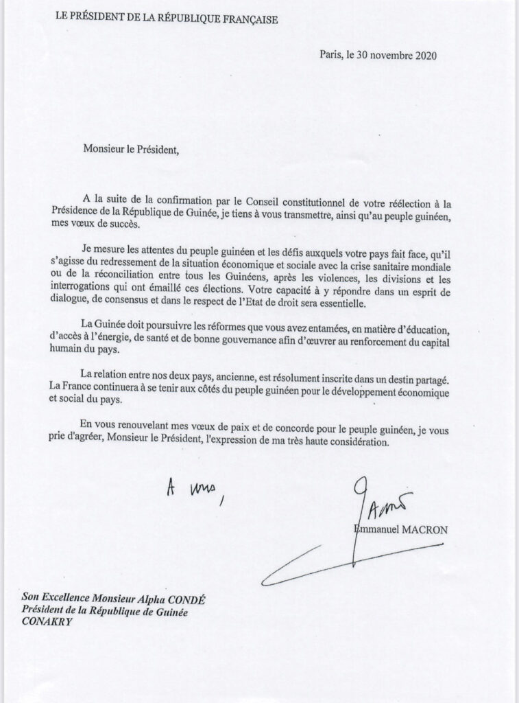 Urgent : Emmanuel Macron félicite Alpha Condé (Copie courrier)