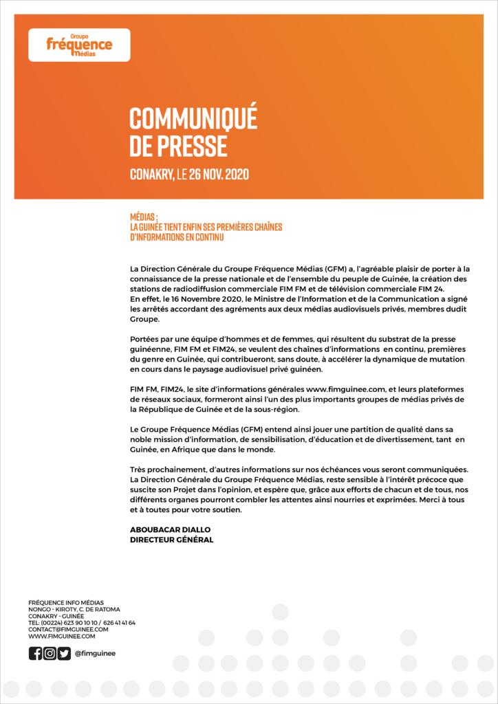 Le journaliste Aboubacar Diallo, annonce la naissance du groupe de médias (Radio, TV et site web), dont il est le Directeur général (communiqué)