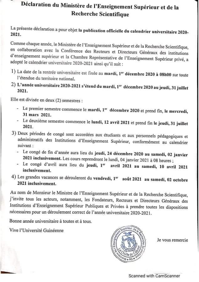Enseignement Supérieur : Après un premier report, la rentrée est prévue pour le 1er décembre 2020