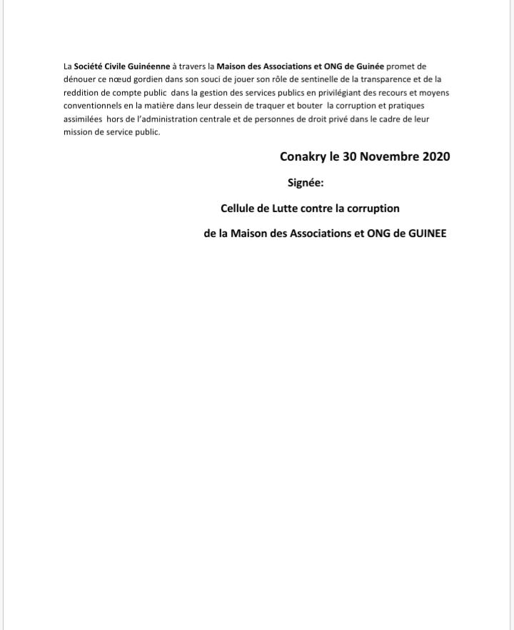 Présumé détournement : La société civile fustige le communiqué du gouvernement et fait des recommandations